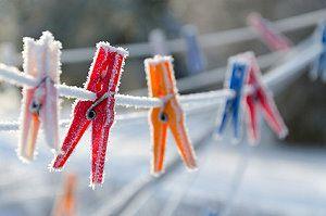 Wäscheleine im Winter